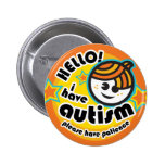 """Hello! I have autism"" button (boy1)"
