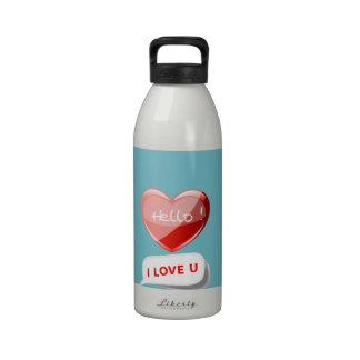 Hello! I Love U! Heart On Blue Curacao. Romantic Water Bottle