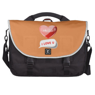 Hello! I Love U! Heart On Coral Rose. Romantic Commuter Bags