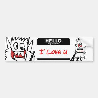 Hello, I Love U Monster Bumper Sticker