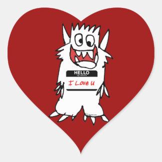 Hello, I Love U Monster Heart Sticker
