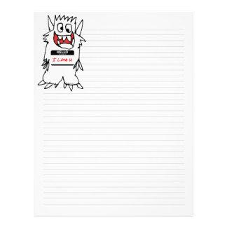Hello, I Love U Monster Letterhead