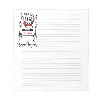 Hello, I Love U Monster Note Pads