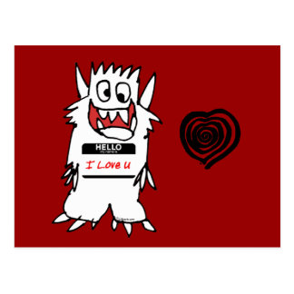 Hello, I Love U Monster Postcard