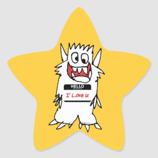 Hello, I Love U Monster Star Sticker