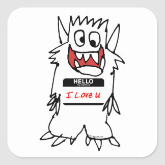 Hello I Love U Monster Square Sticker
