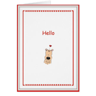 Hello, I Love You Cartoon Bear Card