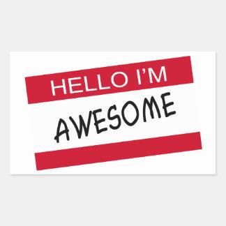 Hello Im Awesome Rectangular Sticker