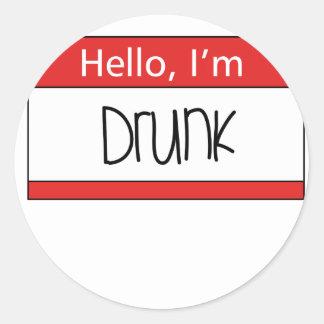 Hello, I'm drunk Classic Round Sticker