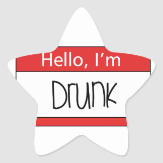 Hello, I'm drunk Star Sticker