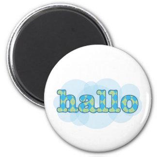 Hello in afrikaans hallo with argyle pattern 2 inch round magnet