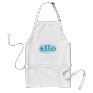 Hello in french allo in argyle pattern adult apron