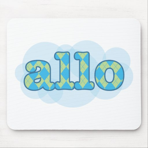 Hello in french allo in argyle pattern mouse pad