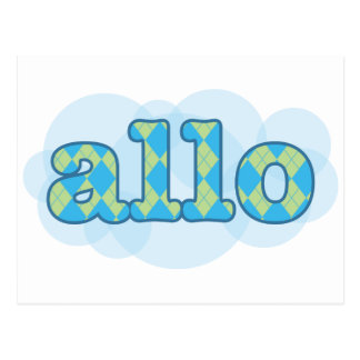 Hello in french allo in argyle pattern postcard