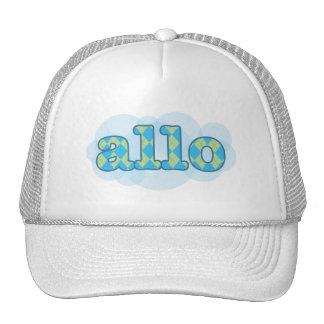 Hello in french allo in argyle pattern trucker hat