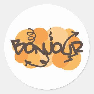 Hello in French Bonjour graffiti Classic Round Sticker