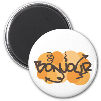 Hello in French Bonjour graffiti 2 Inch Round Magnet