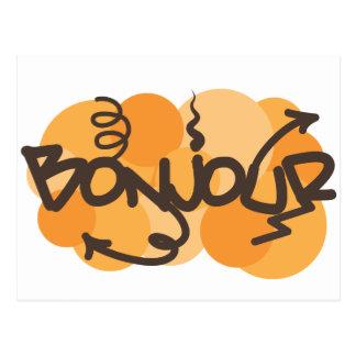 Hello in French Bonjour graffiti Postcard