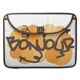 Hello in French Bonjour graffiti Sleeve For MacBook Pro