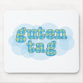 Hello in german guten tag with argyle pattern mouse pad