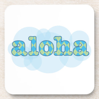 Hello in Hawaiian - Aloha with argyle pattern Beverage Coaster