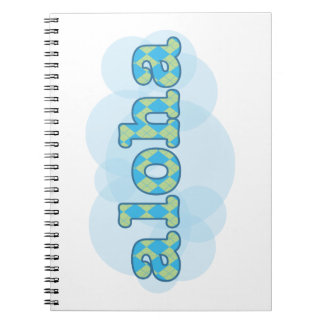 Hello in Hawaiian - Aloha with argyle pattern Note Books