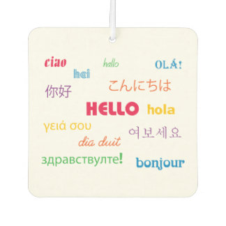 Hello in Many Languages Car Air Freshener