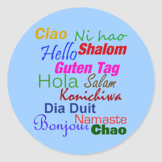 Hello In Many Languages Classic Round Sticker