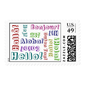 Hello In Many Languages & Colors Postage