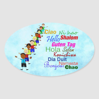 Hello In Many Languages Oval Sticker
