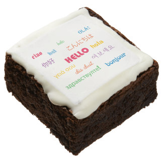 Hello in Many Languages Square Brownie