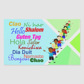 Hello In Many Languages Rectangle Sticker