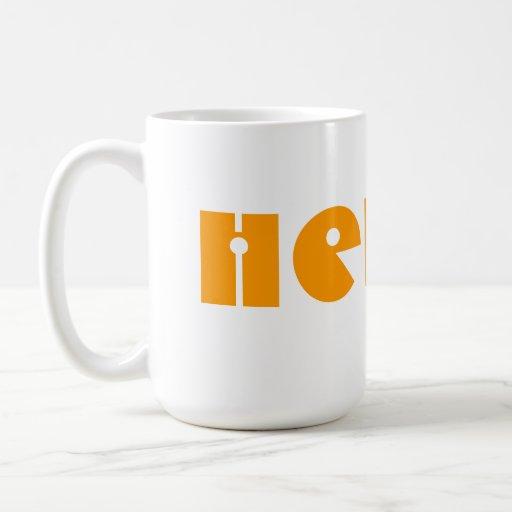 Hello!  In Orange and White. Custom Classic White Coffee Mug
