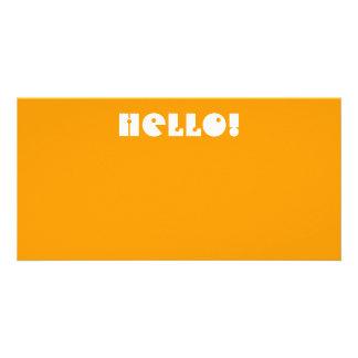 Hello!  In Orange and White. Custom Custom Photo Card