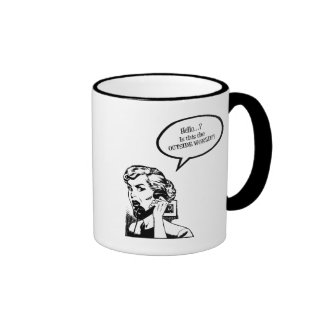 Hello? Is This The OUTSIDE WORLD?! Retro Housewife Ringer Coffee Mug