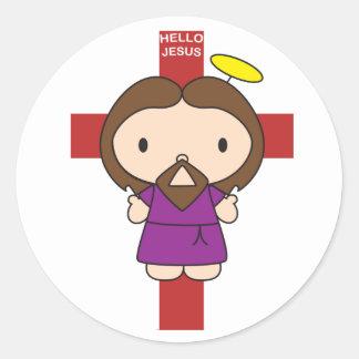Hello Jesus Classic Round Sticker