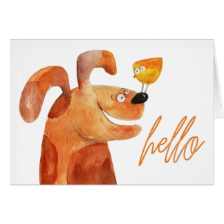 """""""Hello"""" Keeping in Touch Puppy & Bird Blank Card"""