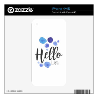 Hello Life Beauty Promo Sign Watercolor Stylized H Skin For iPhone 4S