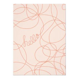 Hello Lines Pink Tangerine Custom Invitation