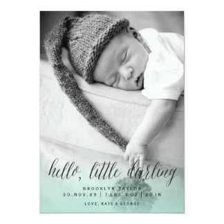 Hello Little Darling Photo Birth Announcement Card