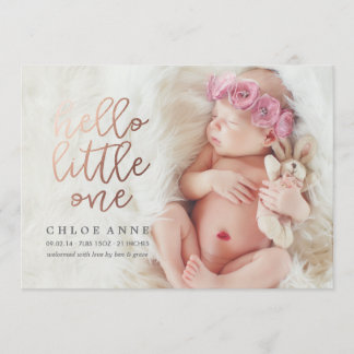 HELLO LITTLE ONE Birth Announcement // gold