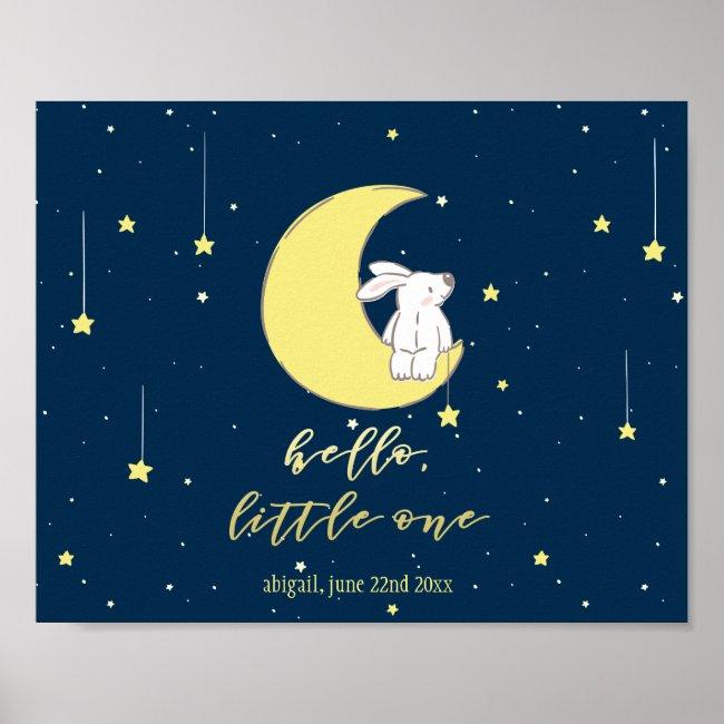 Hello Little One - Cute Bunny on the Moon Nursery