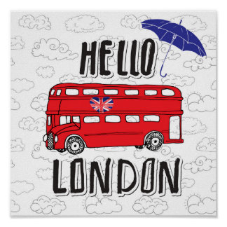 Hello London | Hand Lettered Sign With Umbrella
