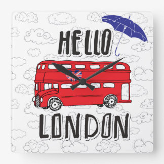 Hello London | Hand Lettered Sign With Umbrella Square Wall Clock