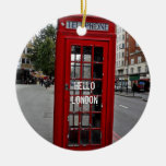 Hello London-Telephone booth Double-Sided Ceramic Round Christmas Ornament