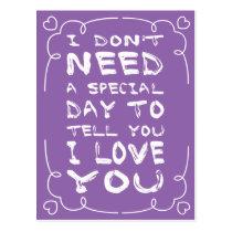 Hello, Love Purple And White Heart Postcard