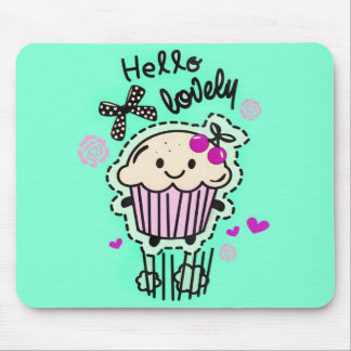 Hello Lovely Cupcake Art in mint green. Mouse Pad