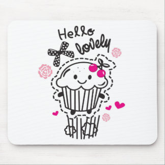 Hello Lovely Cupcake Art. Mouse Pad
