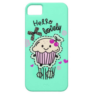 Hello Lovely Cupcake in Mint green retro style. iPhone SE/5/5s Case