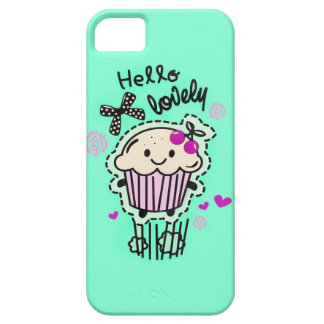 Hello Lovely Cupcake IPhone case in mint green. iPhone 5 Cover
